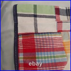 $178 Pottery Barn Kids Madras Drape 44x84 Blackout Curtain Panels set 2 /pair