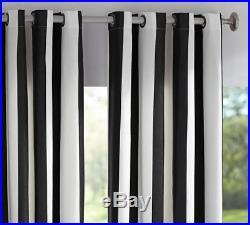 1 NEW Pottery Barn Sunbrella Awning Stripe Outdoor Grommet Drape 84 Black White