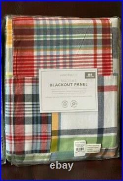 1 Pottery Barn Kids Madras Blackout panel Curtain 84 Multi colors Pole Top NEW