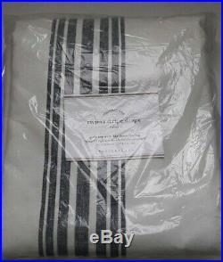 1 Pottery Barn Riviera Stripe Drape Panel 50 x 96 Blackout Pole Top Navy Blue