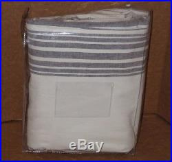 1 Pottery Barn Riviera Stripe Drape With Blackout Liner, 50 X 96, Charcoal, NEW