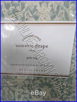 1 Pottery Barn Sammie Tile Geometric Damask Drapes Curtains Panels 50x63 Blue