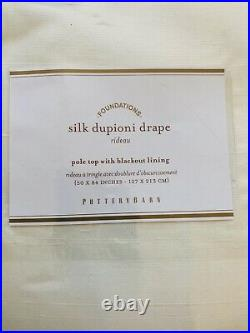 1 Pottery Barn Silk Dupioni Blackout Curtain Panel Drape 50x84 Ivory Decor