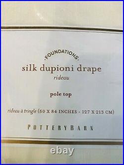1 Pottery Barn Silk Dupioni Curtain Panel Drape 50x84 Ivory Decor Pole Top