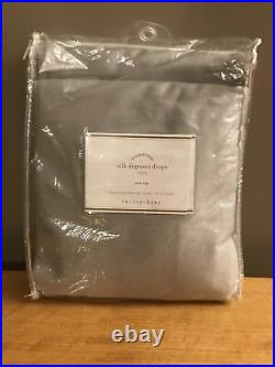 1 Pottery Barn Silk Dupioni Platinum Gray Pole Top Drape Curtain 50 X 108