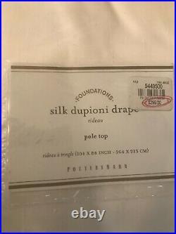 1 Pottery Barn Silk Dupioni White Pole Top Drape Curtain Panel 104 X 84