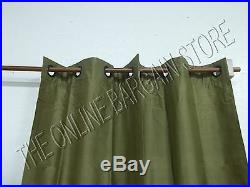 1 Pottery Barn Silk GROMMET Dupioni Lined Curtains Drapes Panels 50x63 lichen