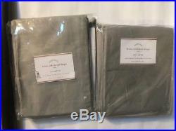 2New Pottery Barn Linen SILK Blend POLE Top POCKET DRAPES 50 x 84 Platinum Gray