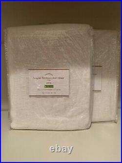 2PC Pottery Barn Belgian Linen Sheer Curtain Drape Panel White 50x 96 NEW