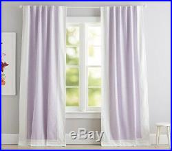 2P Pottery Barn Kids Lavender EVELYN LINEN BORDER BLACKOUT Curtains 44 x 84