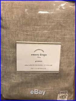 (2) NEW POTTERY BARN EMERY LINEN Drape 50x96 COTTON LINING Oatmeal Grommet