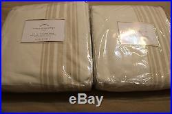 2 New Pottery Barn Riveria Stripe Blackout Curtains Panels Sandalwood 84 Nwt