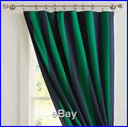 2 New Pottery Barn Teen Rugby Stripe Blackout Curtains Drapes 96 Navy & Green
