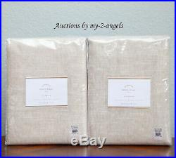 2 NEW Pottery Barn EMERY LINEN COTTON CURTAINS Drapes Panels 50x84 OATMEAL lined