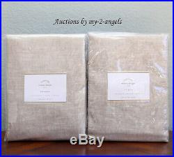 2 NEW Pottery Barn EMERY LINEN COTTON CURTAINS Drapes Panels 50x96 OATMEAL lined