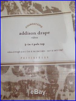 (2) NIP Pottery Barn Addison Print cotton drape panels 50x96 Neutral curtain
