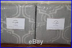2 NIP Pottery Barn Avery pole top drape panels 50x84 gray linen cotton