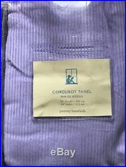 2 NIP Pottery Barn Kids 44 x 96 thin wale CORDUROY LAVENDER PANELS curtains