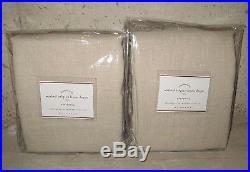 2 NIP Pottery Barn Washed Belgian Flax Linen drape panels 50x84 natural khaki