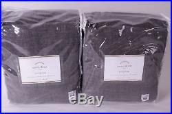 2 NWT Pottery Barn Emery doublewide pole drape panels 100x96 charcoal gray