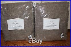 2 NWT Pottery Barn Emery pole blackout drape panels 100x84 sable linen cotton