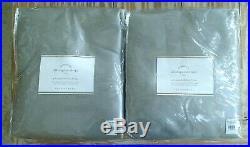 2 New Pottery Barn Dupioni Silk Blackout PoleTop Curtains Drapes 104x96 Platinum