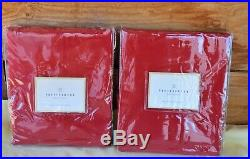 2 New in Package NIP Pottery Barn Red Button Panel Curtains 44x63 100% Cotton