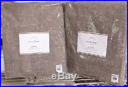 2 Pottery Barn 96 Emery Linen/cotton Grommet Drapes, Sable Brown, New