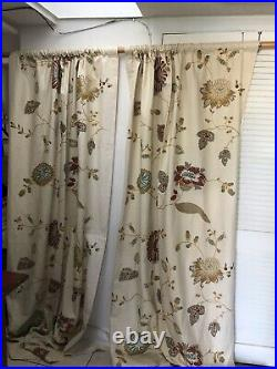2 POTTERY BARN Crewel Embroidered Margaritte Curtains Cotton Linen 50x96 Lined