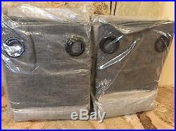 2 POTTERY BARN Emery Border Linen GROMMET Drapes, GRAY CHARCOAL 50x108 Ret. $179