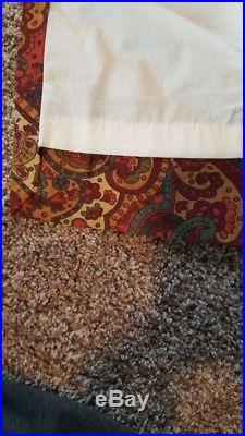 2 POTTERY BARN Mira Paisley Drape Curtain 50 x 90 REDS Linen/Cotton HEMMED