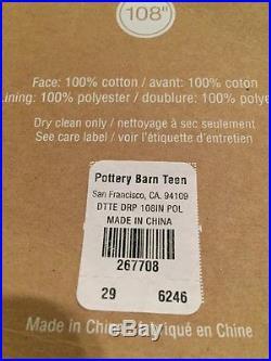 "2 POTTERY BARN PB TEEN DOTTIE Dots BLACKOUT DRAPE 108/"" Pool Green Panels Curtain"