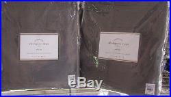 2 POTTERY BARN SILK DUPIONI DOUBLE WIDE DRAPES, 104W x 96L, FLAGSTONE GRAY