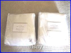 (2) POTTERY BARN SILK DUPIONI DRAPE CURTAIN BLACKOUT LINER 104 x 96 WHITE NEW