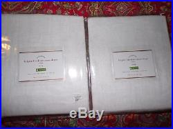 2 POTTERY BARN belgian flax linen sheer drapes, 50 x 96, WHITE, tie top