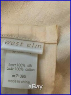 2 Pair (4) Pottery Barn West Elm Cream 100% Silk Lined 48x96 Drape Panels