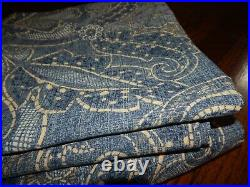 2 Panels POTTERY BARN Leanne Blue Paisley Long Lined Curtains 50 x 108! Nice