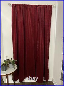2 Panels Pottery Barn Red Velvet Blackout Curtains Thick Rod Pocket 48 X 84