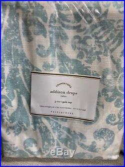 2 Pottery Barn Addison Cotton Drapes Curtains Panels 50x84 Porcelain Blue NIP