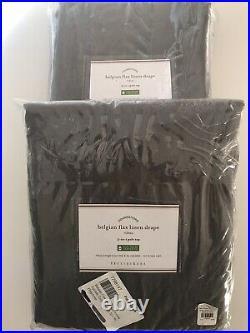 (2) Pottery Barn Belgian Flax Linen Curtains Drapes Panels Flagstone Gray 50x96