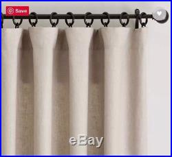 (2) Pottery Barn Belgian Flax Linen Drapes 84 3-in-1 Pole Top NIP Dark Flax