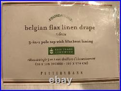 (2) Pottery Barn Belgian Flax Linen Pole Top BLACKOUT Curtain Drape White 50x108