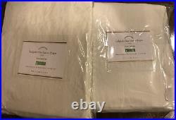 (2) Pottery Barn Belgian Flax Linen Pole Top Cotton Curtain Drape Ivory 50x108