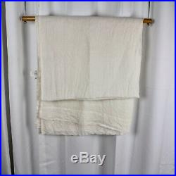 2 Pottery Barn Belgian Flax Linen Poletop Curtains Ivory 50x96 Pair Of Panels