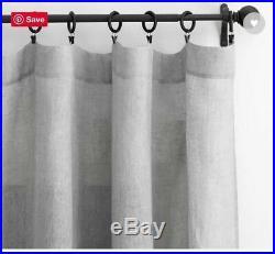 (2) Pottery Barn Belgian Flax Linen Sheer 50 x 84 Drape GREY Pole Top NIP