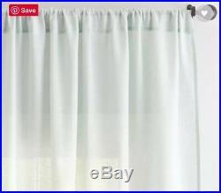 (2) Pottery Barn Belgian Flax Linen Sheer Drapes 84 Pole Top Porcelain Blue NIP