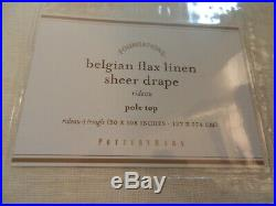 2 Pottery Barn Belgian Flax Linen Sheer Drapes Curtains Unlined Ivory 50x108