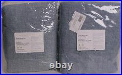 2 Pottery Barn Belgian Flax Linen rod pocket blackout curtain 50x96 blue chambay