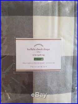 2 Pottery Barn Buffalo Check Drapes 50 X 84 GRAY