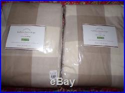 2 Pottery Barn Buffalo Check Drapes, Neutral, 96 L, 2 Panels, New